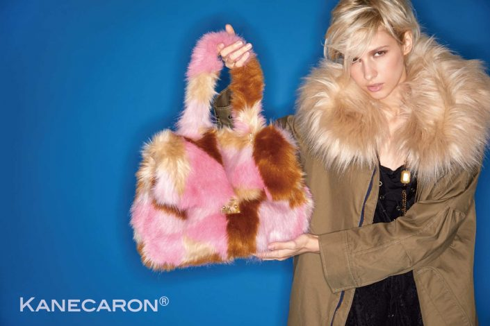 Kanecaron Modacrylic Fibre fashion handbag faux fur pink and beige