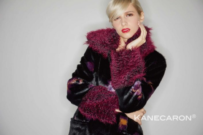 Kanecaron Modacrylic Fibre fashion jacket faux fur black and purple