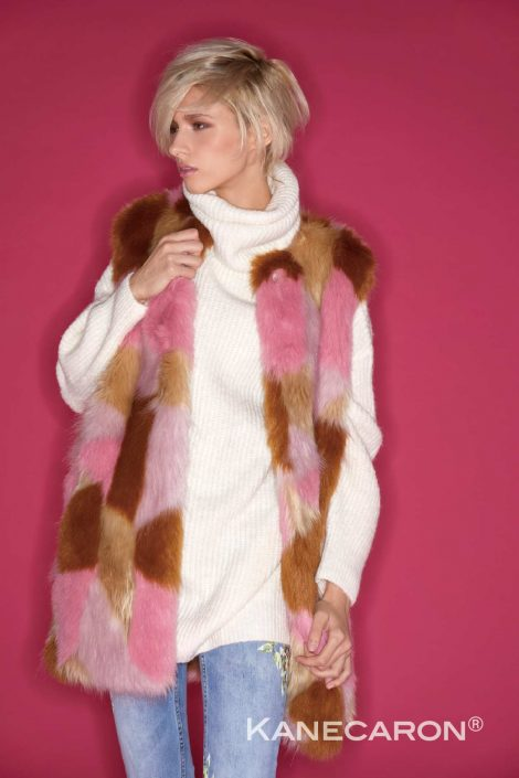 Kanecaron Modacrylic Fibre fashion jacket faux fur pink and brown