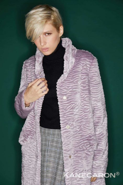 Kanecaron Modacrylic Fibre fashion jacket faux fur light purple closer shot