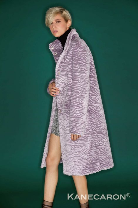 Kanecaron Modacrylic Fibre fashion jacket faux fur light purple
