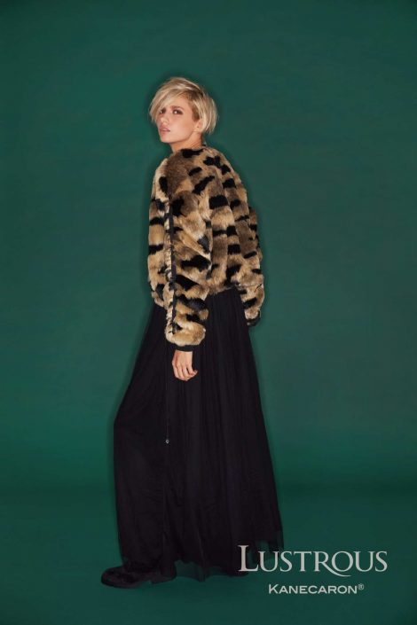 Kanecaron Modacrylic Fibre fashion jacket faux fur patterned wider shot