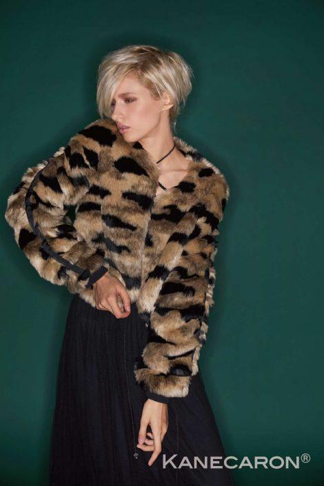 Kanecaron Modacrylic Fibre fashion jacket faux fur patterned