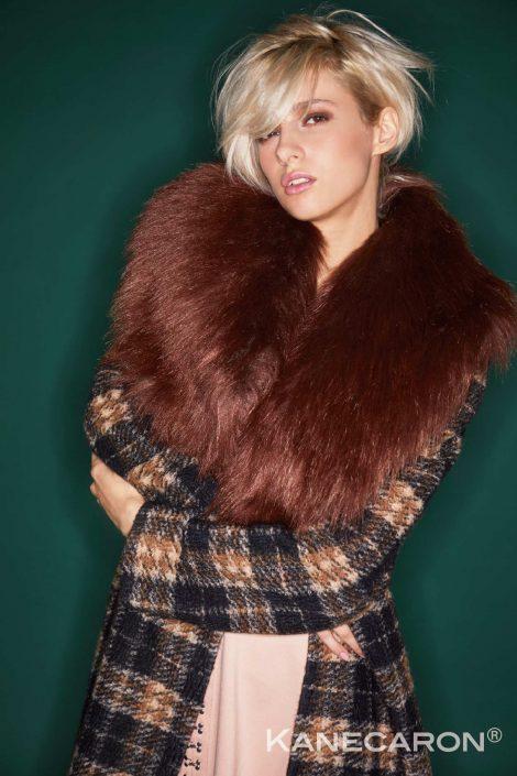 Kanecaron Modacrylic Fibre fashion jacket faux fur brown and patterned closer shot