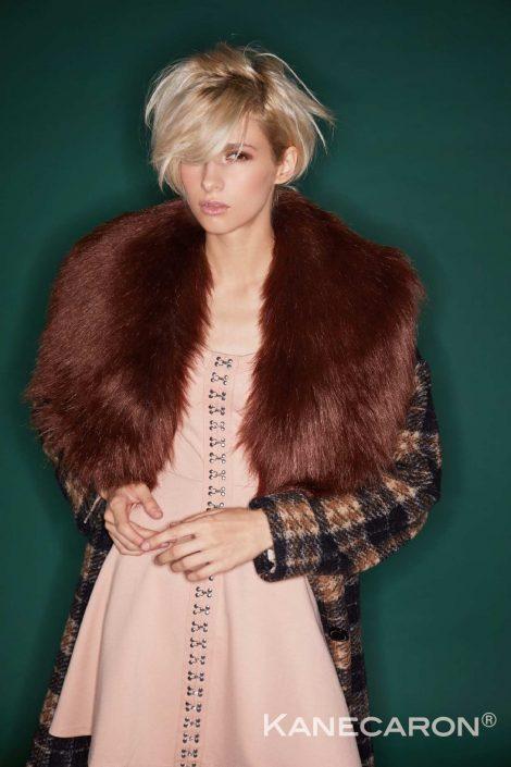 Kanecaron Modacrylic Fibre fashion jacket faux fur brown and patterned