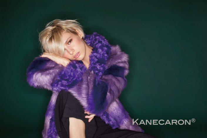 Kanecaron Modacrylic Fibre fashion jacket faux fur purple closer shot