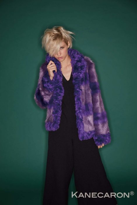 Kanecaron Modacrylic Fibre fashion jacket faux fur purple